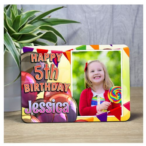 Personalised Happy Birthday Wood Photo Panel F47 - Any Age Bunting & Balloons